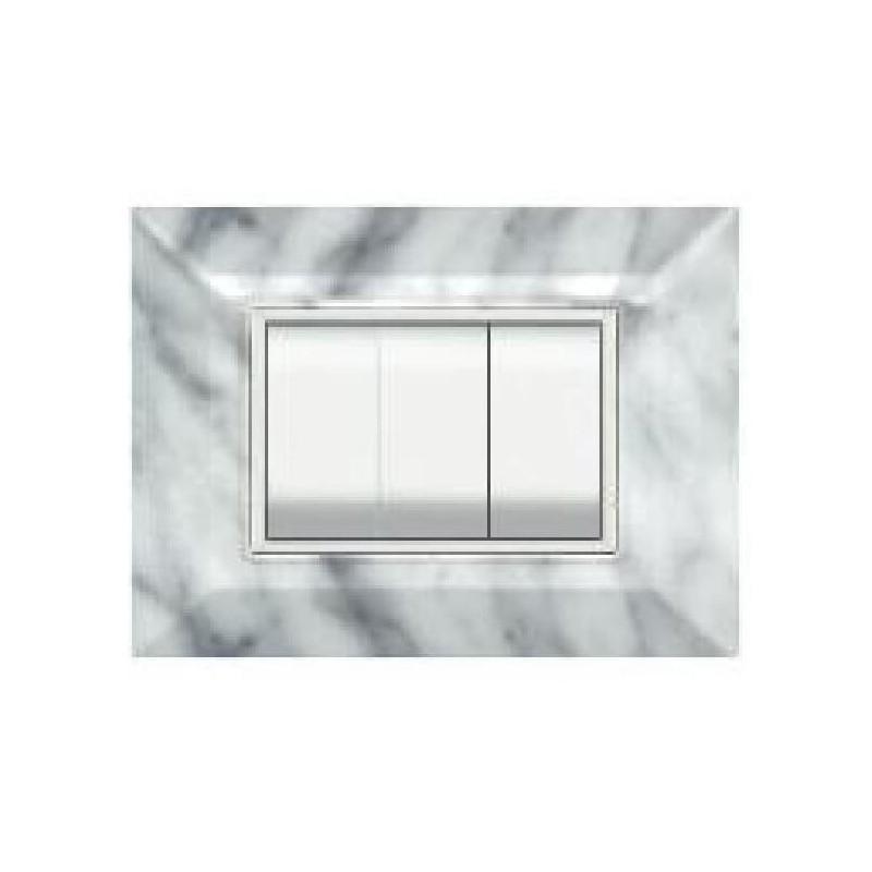 Placca Compatibile Bticino Luna Marmo Carrara 3, 4, 7 Posti Tecnopolimero