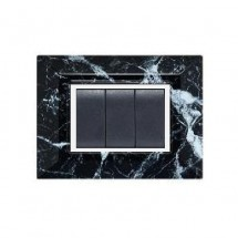 Placca Compatibile Bticino Luna Marmo Nero 3, 4, 7 Posti Tecnopolimero
