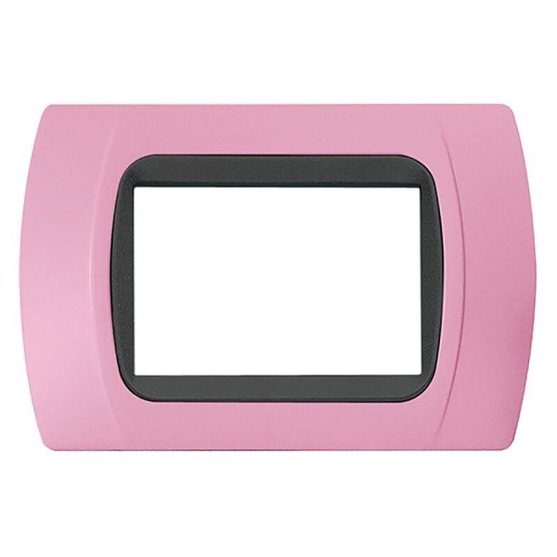 Placca Rosa Pastello Compatibile con Vimar Plana, Eikon e Arkè 3 Posti