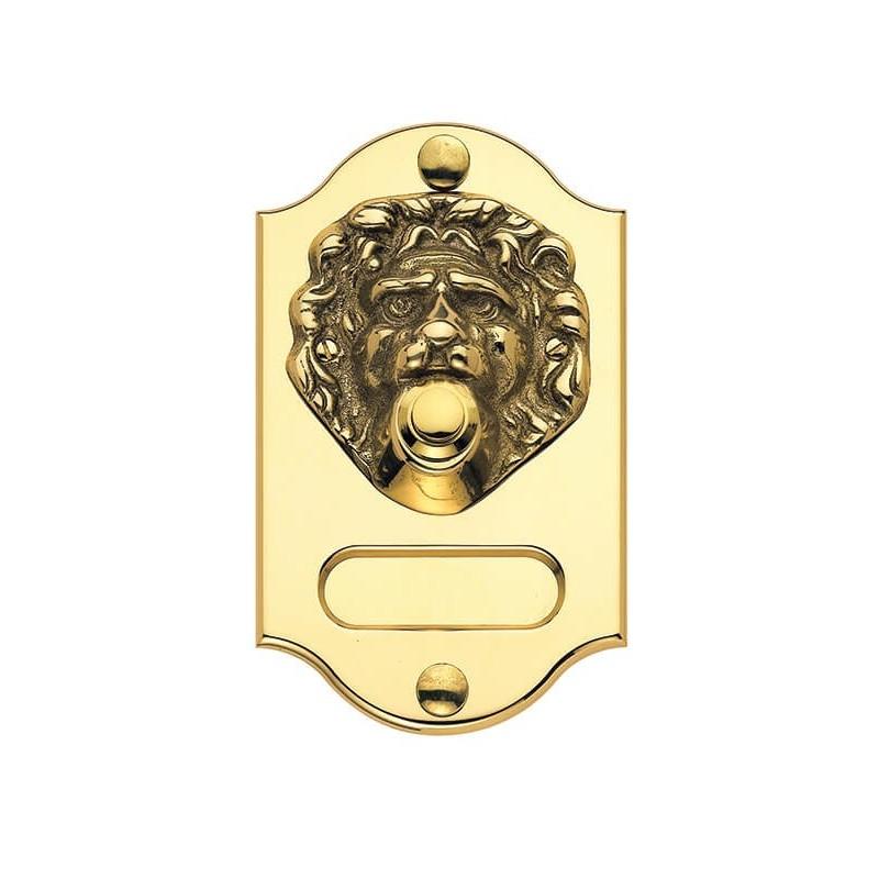 Campanello Testa di Leone in Ottone con Targhetta Portanome e Vernice Protettiva
