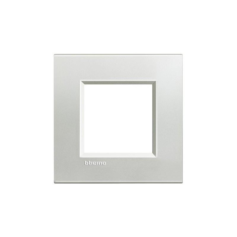 Placca Quadra 2 Moduli Argento in Metallo Bticino LivingLight LNA4802AG prezzi costi costo
