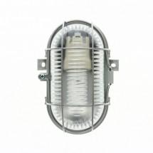 Portalampada Bticino ovale con vetro e griglia di protezione per esterno E27 Bebilux 60W 3 entrate 20mm