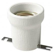 Portalampade E27 corpo ceramica porcellana cilindrico diametro 43 mm, piastrina di fissaggio dritta, bianco a