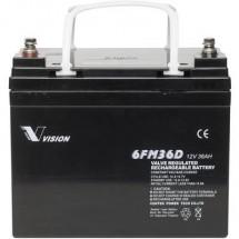 Batteria Solare 12 V 36 Ah Vision Akkus Fm-Serie 6Fm36Dx Piombo-Agm (L X A X P) 195 X 155 X 130 Mm Vite M6