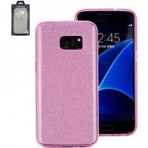 Perlecom Backcover Per Cellulare Adatto Per: Samsung Galaxy S7 Edge Rosa, Effetto Glitter