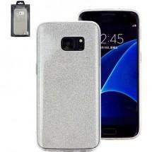 Perlecom Backcover Per Cellulare Adatto Per: Samsung Galaxy S7 Argento, Effetto Glitter