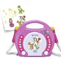 Lettore Cd Per Bambini X4 Tech Bobby Joey Cd, Sd, Usb Incl. Microfono Rosa