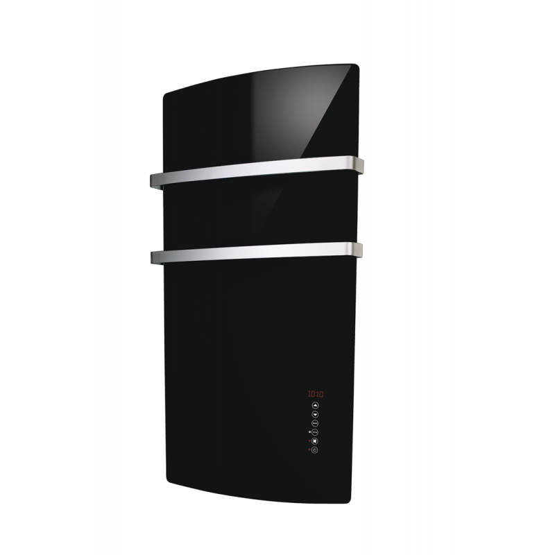 Pannello Radiante in Vetro Deva 1500W Touch Screen Nero Vulcano 52x105 x12,5cm Termoarredo Elettrico Cucina, Bagno, Sala