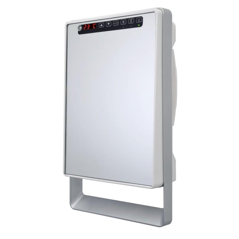 Termoventilatore da parete digitale bianco lucido con for Specchio da parete bianco lucido