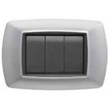Placca Compatibile Bticino Living Classic 3/4/Unel/6 Posti Alluminio Chiaro