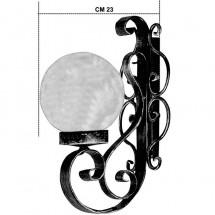 Applique a Sfera per Illuminazione Esterna Giardino in Ferro Nero Altezza 33cm x 23cm ØSfera 16cm