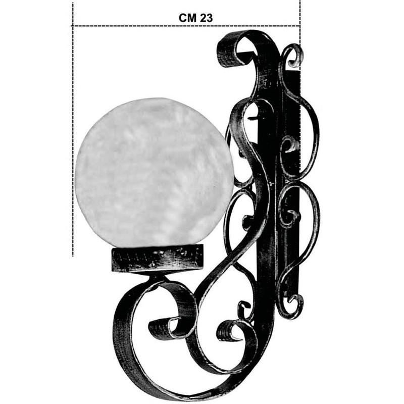 Applique a Sfera per Illuminazione Esterna Giardino in Ferro Nero 33x16cm