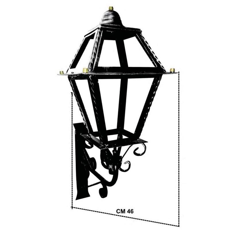 Lanterna Vetri Doppi Con Braccio Per Illuminazione Esterna
