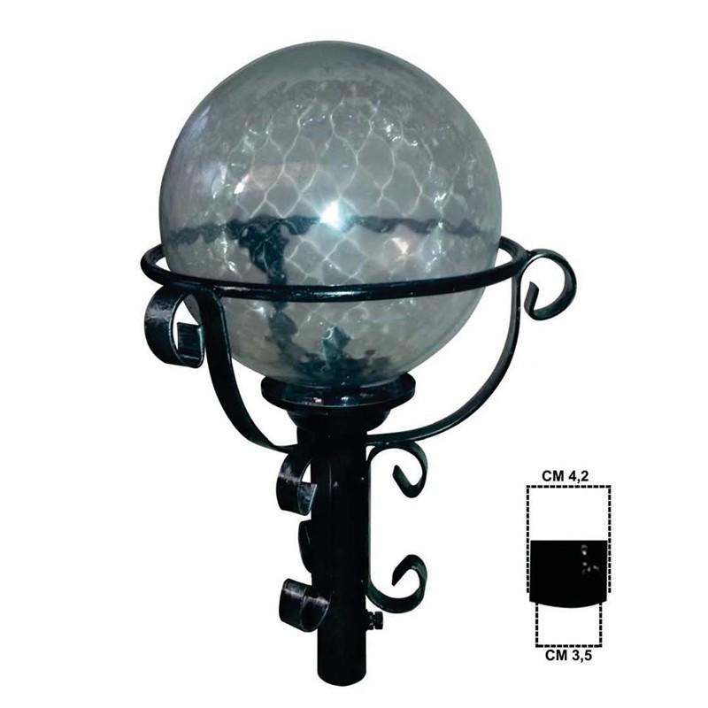 Lanterna Rotonda per Palo per Illuminazione Esterna Giardino in Ferro Nero 51x32cm