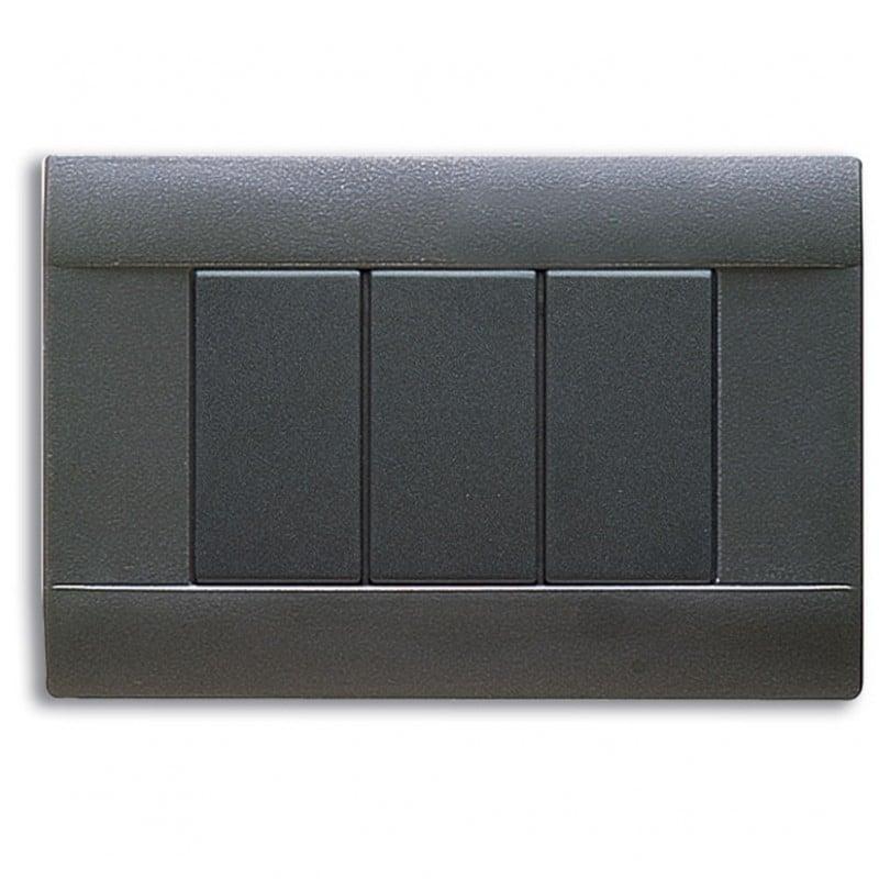 Placca grigio noir 3 moduli ave ral 45 45p03gn - Interruttori ave sistema 45 ...