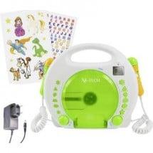 X4 Tech Bobby Joey Lettore CD per bambini CD, SD, USB incl. funzione karaoke , incl. Microfono Bianco, Verde