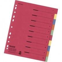 Falken Divisore 80086390 DIN A4, Fuori misura blank Cartone Multicolore 10 schede con stampa organizzativa 80086390