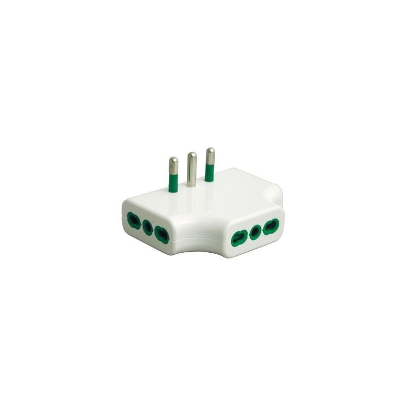 Fanton 82220 adattatore triplo piatto spina italiana 2p t for Placche prese elettriche