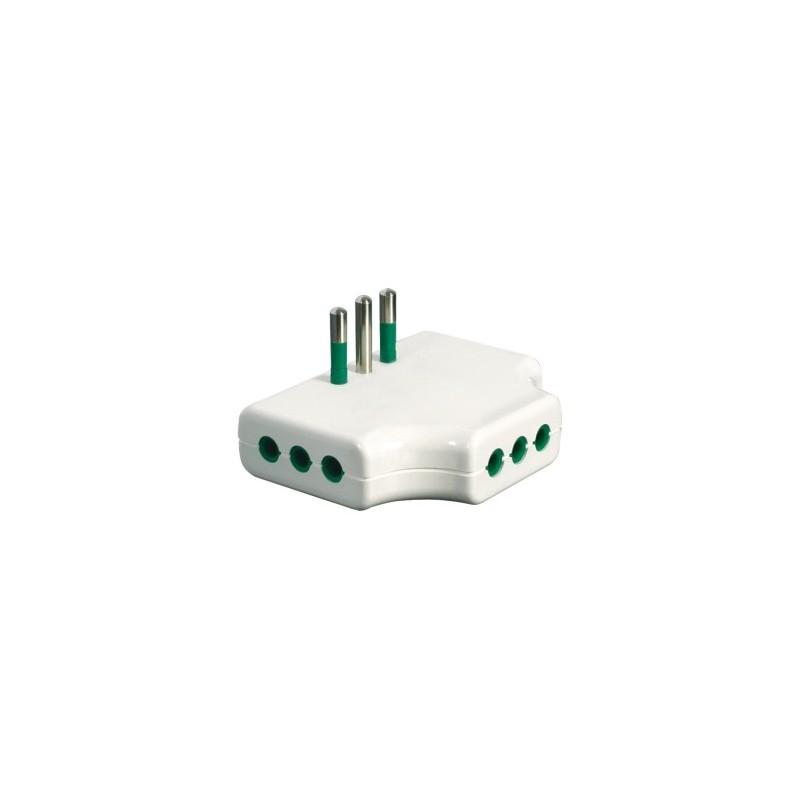 Fanton 82250 adattatore triplo piatto spina italiana 2p t for Placche prese elettriche
