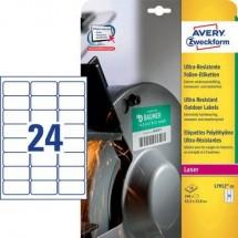 Avery-Zweckform L7912-10 Etichette 63.5 x 33.9 mm Pellicola in polietilene Bianco 240 pz. Permanente Etichetta