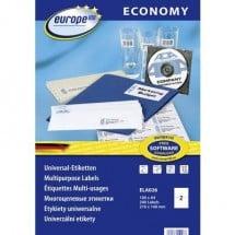 Europe 100 ELA026 Etichette 210 x 148.5 mm Carta Bianco 200 pz. Permanente Etichetta universale Inchiostro, Laser, Copia