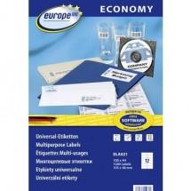Europe 100 ELA021 Etichette 105 x 48 mm Carta Bianco 1200 pz. Permanente Etichetta universale Inchiostro, Laser, Copia
