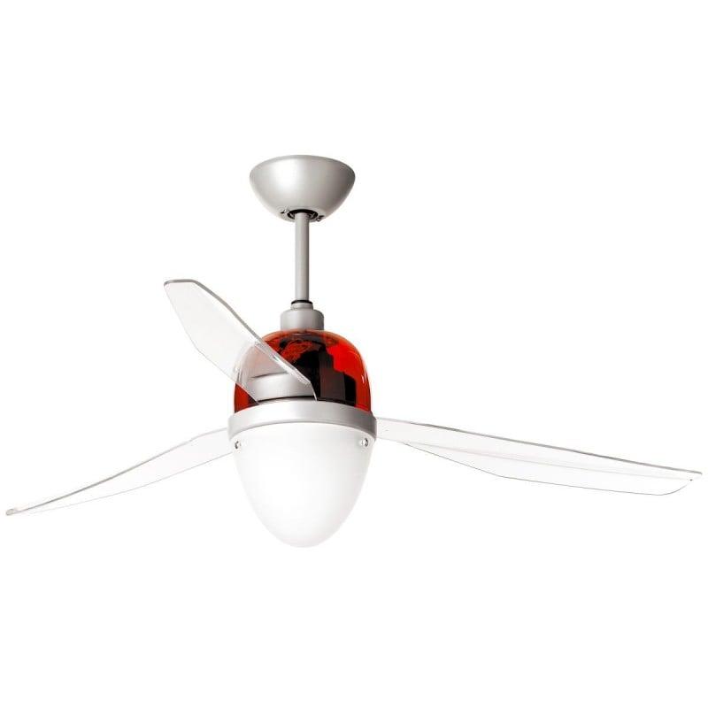 Ventilatore Da Soffitto Con Luce Con Telecomando Swing Eco 75W Calotta Rossa