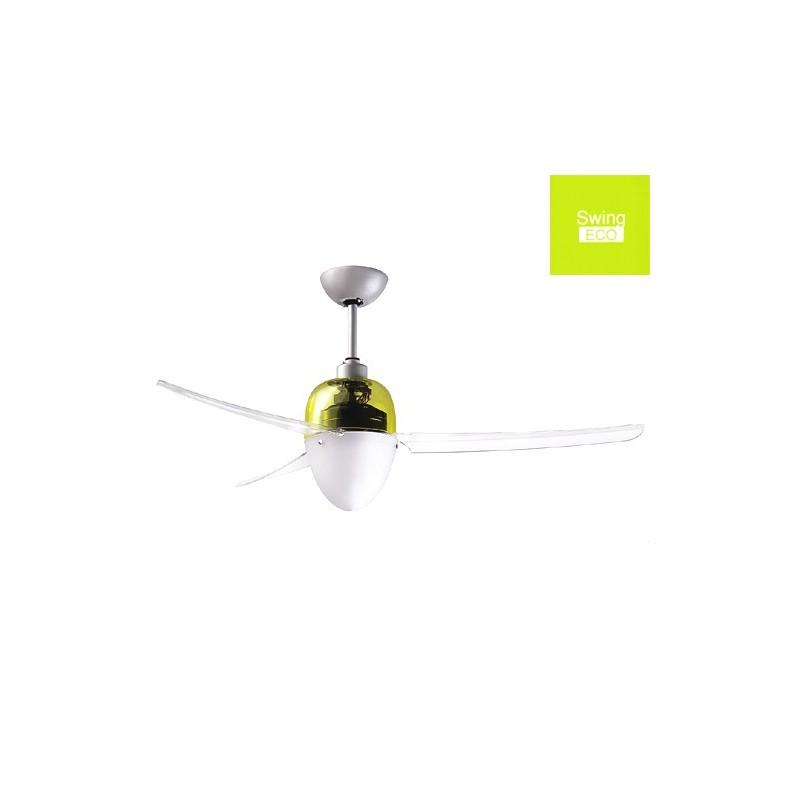 Ventilatore Da Soffitto Con Luce Con Telecomando Swing Eco 75W Calotta Gialla
