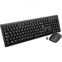 Kit tastiera e mouse senza fili Italiana QWERTY V7 Videoseven CKW200IT A prova di schizzi Nero