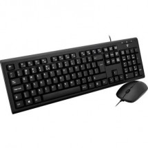 V7 Videoseven CKU200UK Kit tastiera e mouse USB A prova di schizzi Inglese, QWERTY Nero