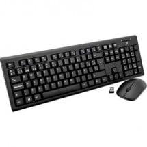 V7 Videoseven CKW200ES Kit tastiera e mouse senza fili A prova di schizzi Spagnola, QWERTY Nero
