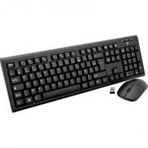 V7 Videoseven CKW200FR Kit tastiera e mouse senza fili A prova di schizzi Francese, AZERTY Nero