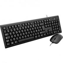 V7 Videoseven CKU200FR Kit tastiera e mouse USB A prova di schizzi Francese, AZERTY Nero