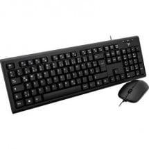 V7 Videoseven CKU200DE Kit tastiera e mouse USB A prova di schizzi Tedesco, QWERTZ, Windows® Nero