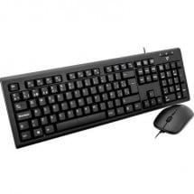 V7 Videoseven CKU200ES Kit tastiera e mouse USB A prova di schizzi Spagnola, QWERTY Nero