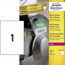 Avery-Zweckform L7917-40 Etichette 210 x 297 mm Pellicola in polietilene Bianco 40 pz. Permanente Etichetta universale