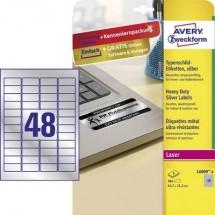Avery-Zweckform L6009-8 Etichette 45.7 x 21.2 mm Pellicola in poliestere Argento 384 pz. Permanente Etichetta per