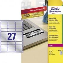 Avery-Zweckform L6011-8 Etichette 63.5 x 29.6 mm Pellicola in poliestere Argento 216 pz. Permanente Etichetta per