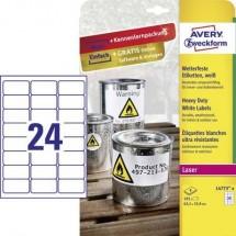 Avery-Zweckform L4773-8 Etichette 63.5 x 33.9 mm Pellicola in poliestere Bianco 192 pz. Permanente Etichetta universale,