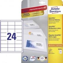 Avery-Zweckform 3658-10 Etichette 64.6 x 33.8 mm Carta Bianco 240 pz. Permanente Etichetta universale Inchiostro, Laser,