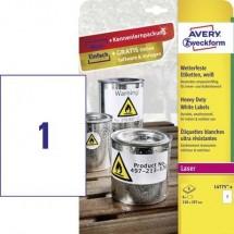 Avery-Zweckform L4775-8 Etichette 210 x 297 mm Pellicola in poliestere Bianco 8 pz. Permanente Etichetta universale,