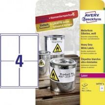 Avery-Zweckform L4774-8 Etichette 99.1 x 139 mm Pellicola in poliestere Bianco 32 pz. Permanente Etichetta universale,