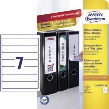 Avery-Zweckform Etichetta per raccoglitore da ufficio L4760REV-10 38 x 192 mm Carta Bianco Staccabile 70 pz.
