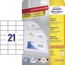 Avery-Zweckform 3652-10 Etichette 70 x 42.3 mm Carta Bianco 210 pz. Permanente Etichetta universale Inchiostro, Laser,