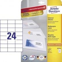 Avery-Zweckform 3474-10 Etichette 70 x 37 mm Carta Bianco 240 pz. Permanente Etichetta universale Inchiostro, Laser,