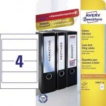 Avery-Zweckform Etichetta per raccoglitore da ufficio L6061-10 59 x 192 mm Carta Bianco Permanente 40 pz.