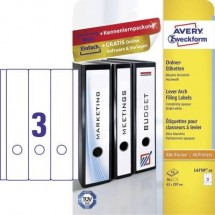 Avery-Zweckform Etichetta per raccoglitore da ufficio L4759-10 61 x 297 mm Carta Bianco Permanente 30 pz.