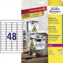 Avery-Zweckform L4778-8 Etichette 45.7 x 21.2 mm Pellicola in poliestere Bianco 384 pz. Permanente Etichetta universale,