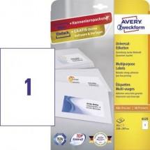 Avery-Zweckform 6125 Etichette 210 x 297 mm Carta Bianco 10 pz. Permanente Etichetta universale Inchiostro, Laser, Copia