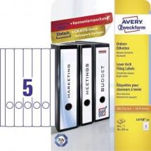 Avery-Zweckform Etichetta per raccoglitore da ufficio L4758-10 38 x 297 mm Carta Bianco Permanente 50 pz.
